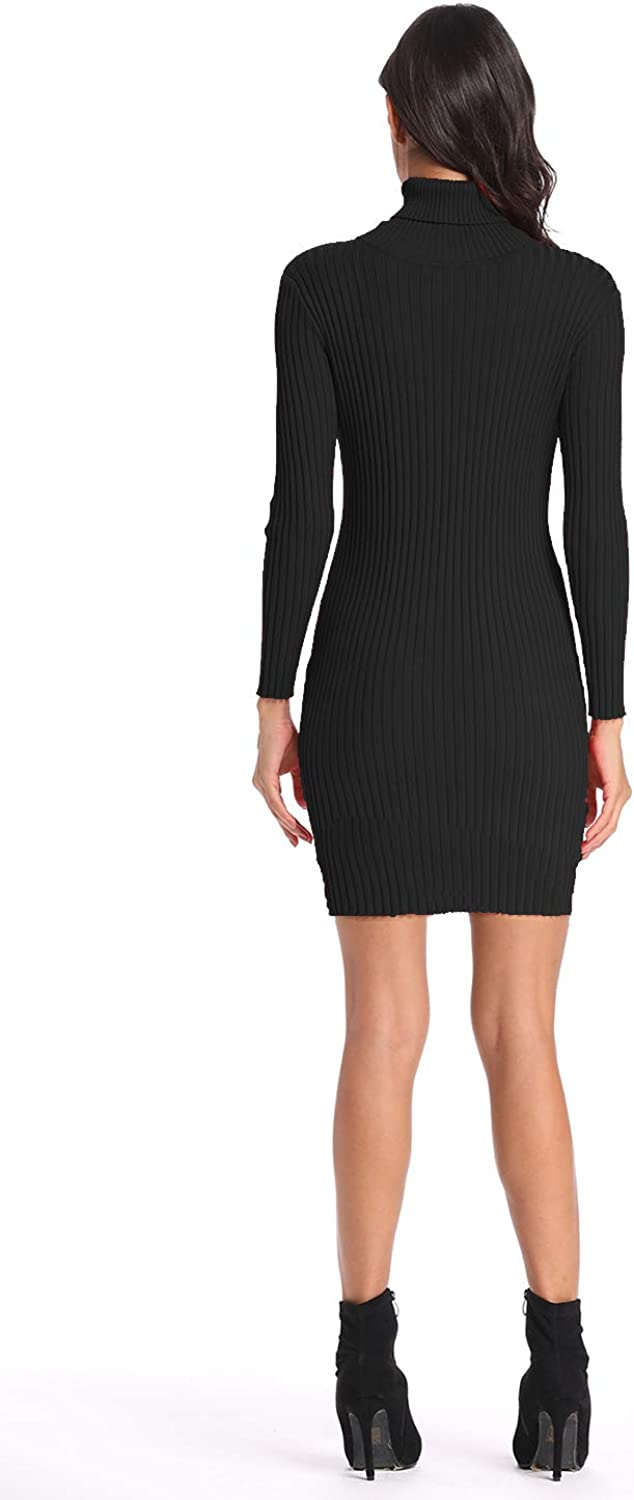Womens Long Sleeve Sweater Dress High Neck Bodycon Knit Slim Fit Short Basic Knitted Jumper Knitwear Tunic Black