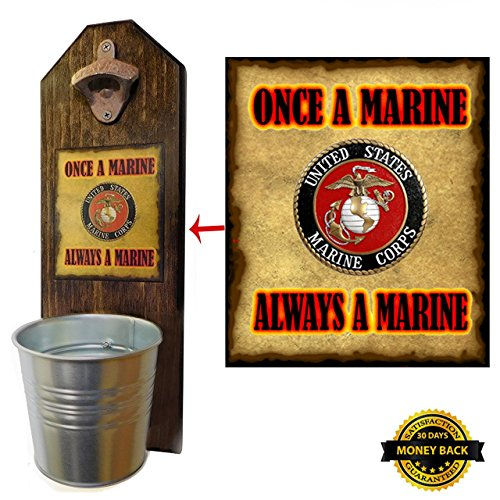 Opener and Cap Catcher, Wall Mounted - Handcrafted by a Vet - Solid Pine - Rustic Cast Iron Opener and Galvanized Bucket - Great Veteran Gift! Semper Fi! ()