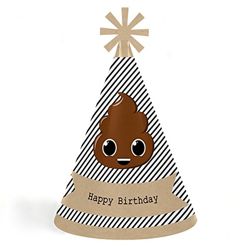 Party 'Til You're Pooped - Cone Poop Emoji Happy Birthday Party Hats for Kids and Adults - Set of 8 (Standard - Size Hat Standard
