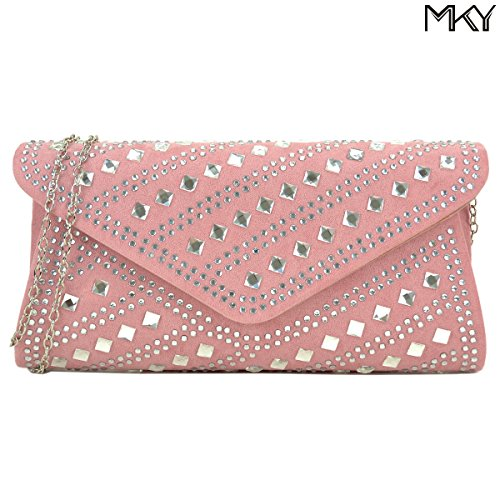 Studded Rhinestone Clutch Purse Evening Bag Crystal Handbag Glitter Sequin Party