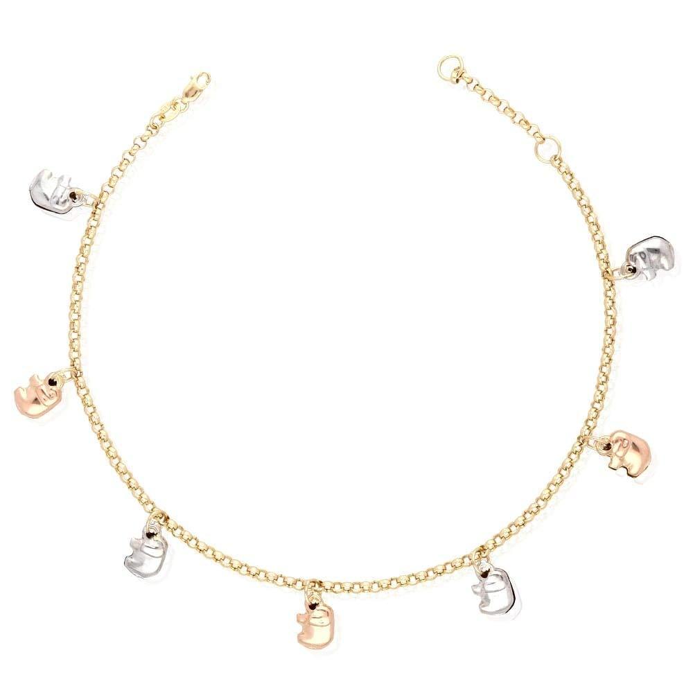 14k Yellow Gold White Gold Tri-Color Gold Elephant Charm Hollow Anklet Bracelet 9'' 10'', Tri-Color Gold