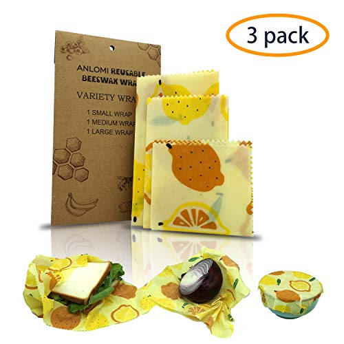 ANLOMI Reusable Beeswax Food Wraps - Set of 3 Pack, Eco Friendly Sustainable Biodegradable Food Storage Wraps, Sandwich Snack Wraps, Bowl Covers Jar Lids. (Orange) (Food Storage Containers Bap Free)