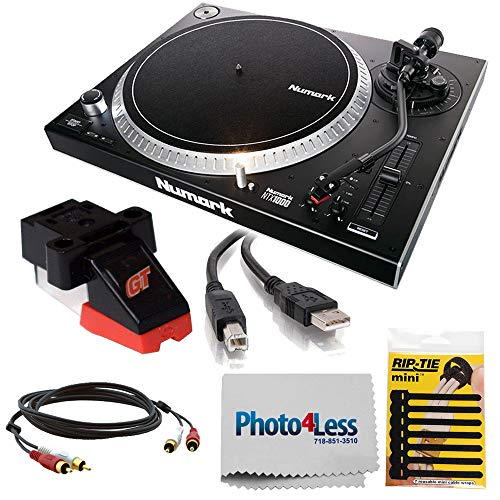 Numark NTX1000 | Professional High-Torque Direct Drive Turntable + Numark Groove Tool Cartridge & Stylus + 2 RCA Cable, USB Cable + Camera and Lens Cleaning Cloth + Cable Tie
