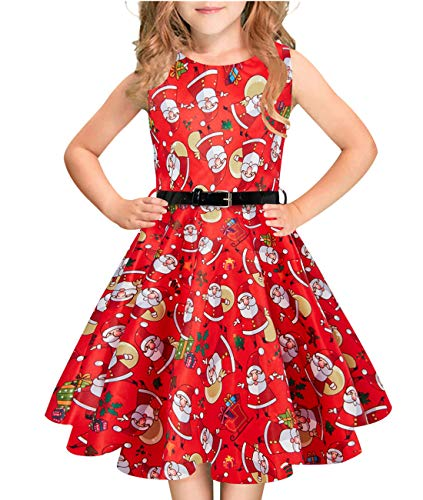 Idgreatim Girls 50s Vintage Swing Derss Floral Print Pleated Sleeveless  Party Dresses with Belt S- aaf27a8fbe2b
