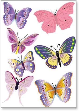 Aufkleber Bunte Schmetterlinge Sticker Set Für Auto Mehr 14 Aufkleber Auf 2x Din A4 Bögen Auto
