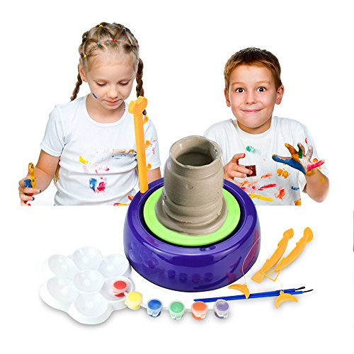 IAMGlobal Pottery Wheel, Pottery Studio, Craft Kit, Artist Studio, Ceramic Machine with Clay, Educational Toy for Kids Beginners