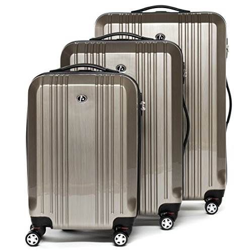 FERGÉ luggage set 3 piece carry-on large and XL - lightweight hard shell trolley TSA-lock CANNES champagne-wire | Polycarbonate suitcase set 4 twin spinner wheels - cabin hand luggage JetBlue Delta by FERGÉ