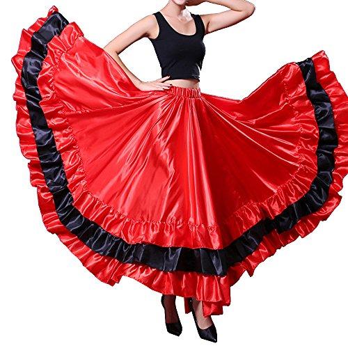 Adult Performance Spanish Bull Flamenco Gypsy Belly Dance Skirt - Black Circle (red Theme)]()