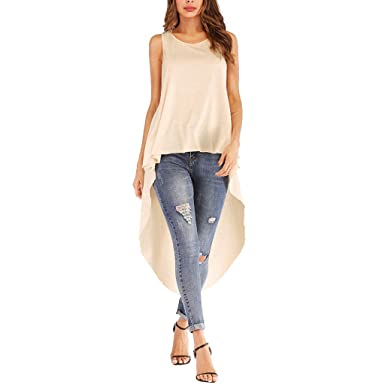 YEZIJIN Fashion Women s Sleeveless Irregular Hem Solid Long Top T Shirt  Blouse 2019 New Under 10 Dollar at Amazon Women s Clothing store