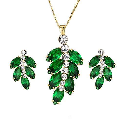Yoursfs-Emerald-Leaves-Pendant-Necklace-and-Earring-Set-18k-Gold-Plated-Jewelry-Set