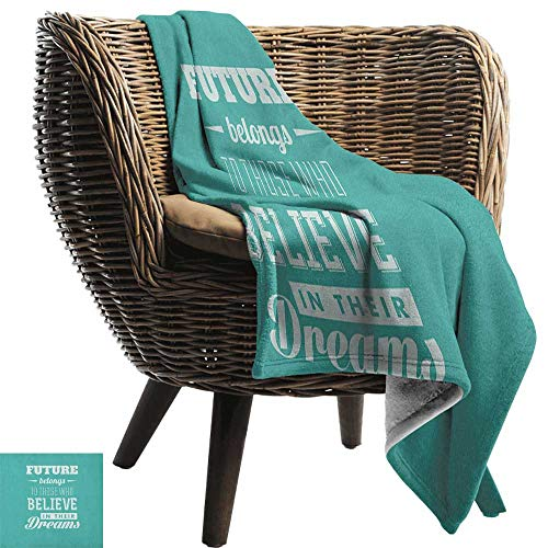 AndyTours Travel Throw Blanket,Motivational,Hipster Letters Saying Advice Believe in Your Dreams Have Faith in Yourself, Teal White,Super Soft and Warm,Durable Throw Blanket -