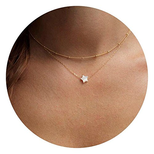 Befettly Mini Imitation Pearls Bar Star Shell Pendant Delicate Necklace Handmade 14k Gold Fill Boho (Shell Chain)