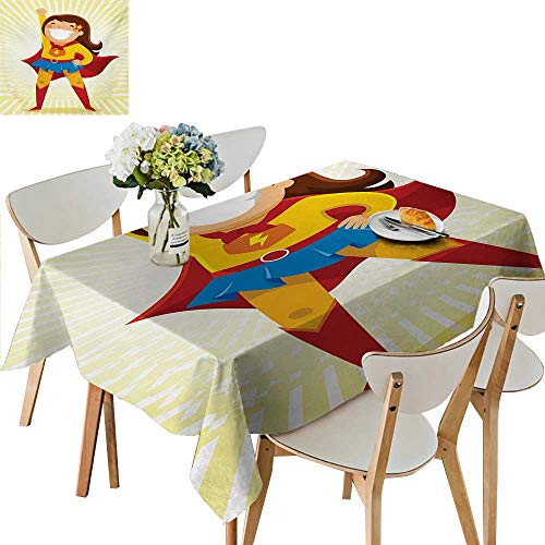 Printed Tablecloth,Courageous Little Girl with a Big Smile in Costume Standing in a Heroic Position Wedding Restaurant Party Decoration Great for Holiday Dinner,57W x 96.5L Inches -