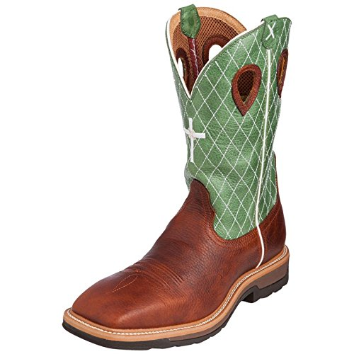 Twisted X Boots Mens Cognac Glazed Pebble Lite Weight Cowboy Work Boots 75 DM US Cognac/Lime