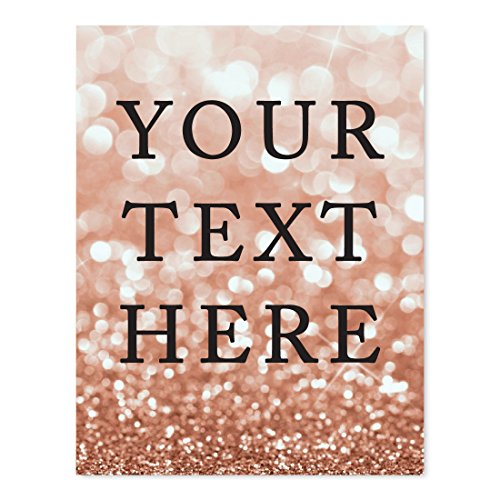 Andaz Press Fully Personalized Wedding Party Signs, Glitzy Rose Gold Glitter, 8.5x11-inch Wall Art, Poster, Gift, Your Text Here, 1-Pack, Bokeh Colored Party Supplies, Custom Made Any -