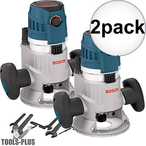 Bosch MRF23EVS 2.3HP Fixed Base Router 1/2 inch & 1/4 inch Collets Inc. 2-Pack Mfr. Refurbished