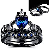 Sumanee Exquisite Love Design Crown Hand Heart Ring Sets Blue Crystal Rings for Women (10)