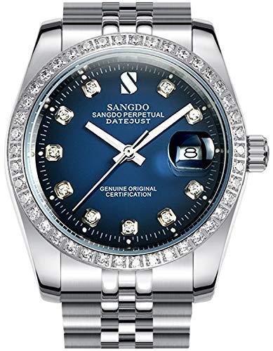Men's Diamond Inlay Bezel Blue Dial Stainless Steel Band Calendar Waterproof Automatic Mechanical Watch (Silver Blue)