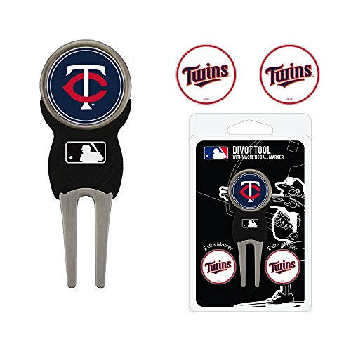 Team Golf MLB Minnesota Twins Divot Tool with 3 Golf Ball Markers Pack, Markers are Removable Magnetic Double-Sided Enamel