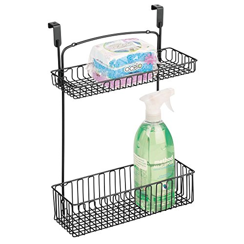 mDesign Metal Farmhouse Over Cabinet Kitchen Storage Organizer Holder or Basket - Hang Over Cabinet Doors in Kitchen/Pantry - Holds Dish Soap, Window Cleaner, Sponges - Matte Black (The Organizer Door Over Cabinet)