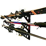 Ski Storage Multi Tier Rack | Horizontal Wall Mount | Skis and Poles Holder