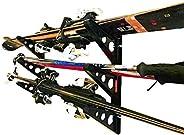 Ski Storage Multi Rack | Horizontal Wall Mount | Skis and Poles Holder | StoreYourBoard