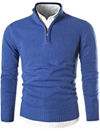 Mens Slim Fit Zip up Mock Neck Polo Sweater Casual Long Sleeve Sweater and Pullover Sweaters with Ribbing Edge
