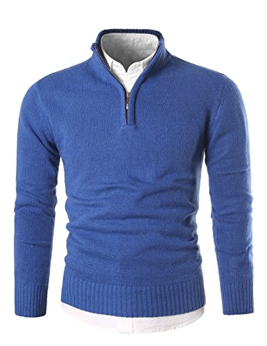 Mens Polo Neck Sweaters - MIEDEON Mens Slim Fit Zip up Mock Neck Polo Sweater Casual Long Sleeve Sweater and Pullover Sweaters with Ribbing Edge (Blue, L)