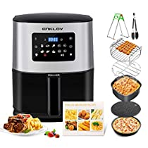 ENKLOV AFE08 AFE0 Air Fryer 7.5Qt XL (7 Cooking Accessories & Recipe Book Provided) 10 in 1 Digital Display Control, Oil Less Hot Airfryer Oven, Time-Saving Electric Power Cooker, Black (Renewed)