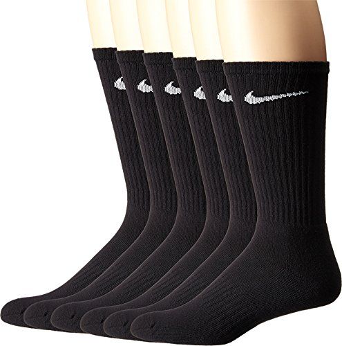 - NIKE Unisex Performance Cushion Crew Socks with Band (6 Pairs), Black/White, Large