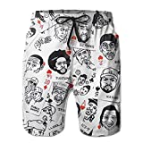Hip-Hop Rap Music Linen Mens Boardshorts Swim Trunks Men Tropical Running Swim Board Shorts Swimming Trunks
