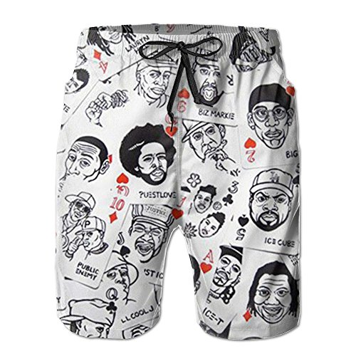 Hip-Hop Rap Music Linen Mens Boardshorts Swim Trunks Men Tropical Running Swim Board Shorts Swimming Trunks by Beachs