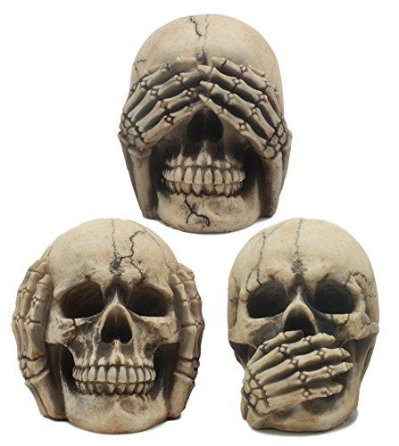 "Ebros Gothic Alchemy See Hear Speak No Evil Grinning Skulls Statue Set of Three 4"" High Halloween Decor Ossuary Graveyard Figurines"