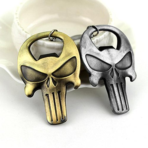 Set of 2 Ancient Bronze and Tin Made Punisher Skull Theme Bottle Opener