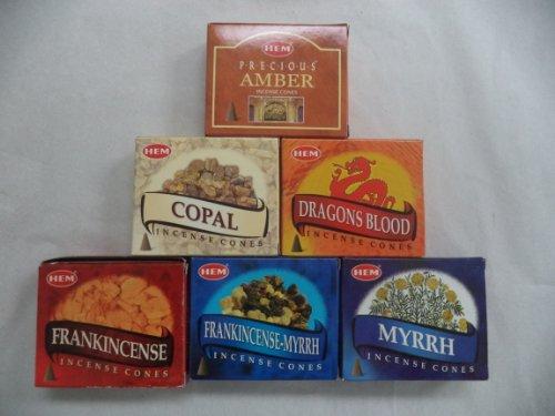 Hem Traditional Resin Sampler Incense Cones, 6 Packs of 10 Cones = 60 Cones