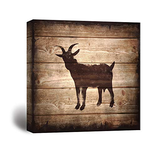 Square Goat Silhouette on Rustic Wood Board Texture Background