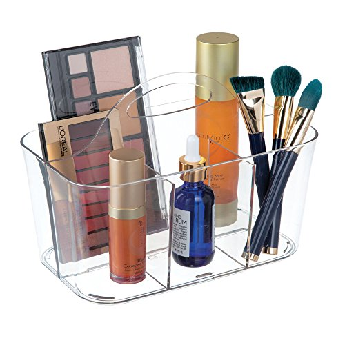 (mDesign Plastic Makeup Storage Organizer Caddy Tote - Divided Basket Bin, Handle for Bathroom Storage - Holds Eyeshadow Palettes, Nail Polish, Makeup Brushes, Blush, Shower Essentials - Small - Clear)