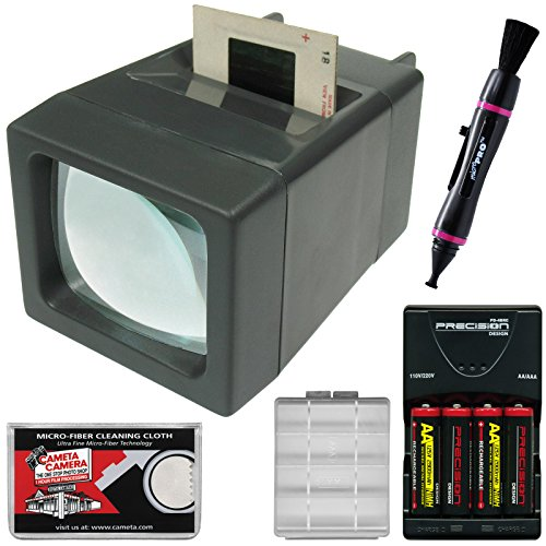 Zuma SV-2 LED Lighted 35mm Film Slide and Negative Viewer with Batteries & Charger + (35 Mm Slide Cleaning)