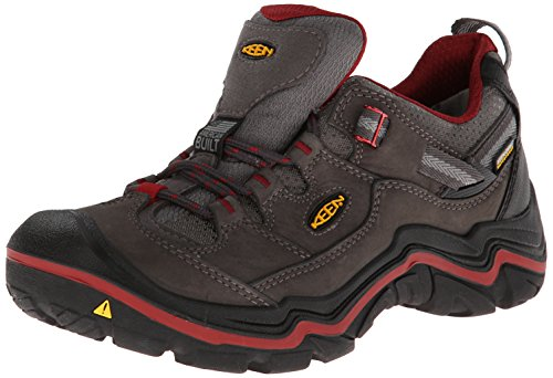 KEEN Women's Durand Low Waterproof Hiking Shoe, Magnet/Red Dahlia, 10 M US by KEEN