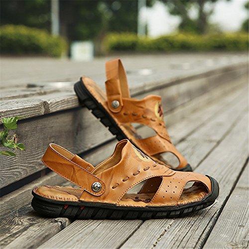 genuino all'aperto spiaggia morbido piedi antiscivolo uomini 2018 Cuoio scarpe punta Sandali degli piatto shoes chiuso Casual escursioni Mens regolabile a la a per Backless qgRFHt