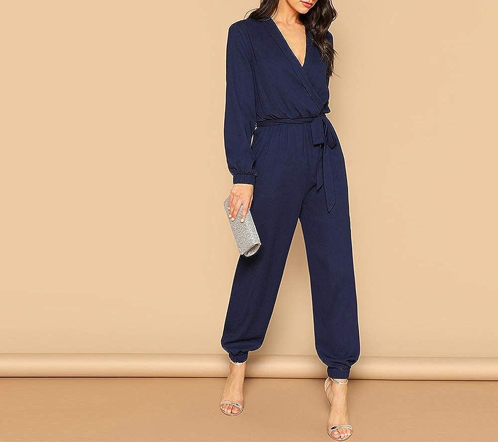 WUISDE Wrap Plunging Belted Jumpsuit Women Spring Casual Deep V Neck Long Sleeve Elegant Jumpsuit