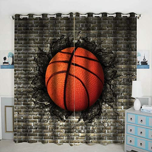 Basketball on The Brick Window Curtain Panels Blackout Curtain Panels Thermal Insulated Light Blocking 42W x 84L inch Set of 2 Panel