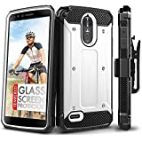 LG Stylo 3 Case, Evocel [Explorer Series] with FREE [LG Stylo 3 Glass Screen Protector][Full Screen Coverage] Premium Full Body Case [Slim Profile][Belt Clip] For LG G Stylo 3 (2017 Release), White