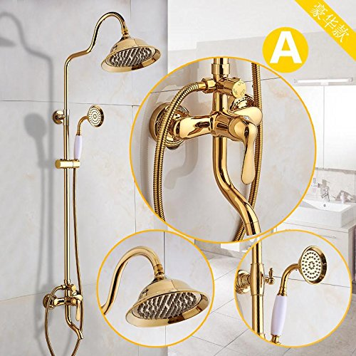 Hlluya Hlluya Hlluya Wasserhahn für Waschbecken Küche Die Goldene Dusche antike Dusche Kit voll Kupfer Bad warme und kalte Dusche Wasserhahn verGoldet a831cd