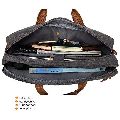 CoolBELL umwandelbar Rucksack Messenger Bag Umhängetasche Laptop Tasche Handtasche Business Aktentasche Multifunktions Reise Rucksack Passend für 17,3 Zoll Laptop / Männer / Frauen(Canvas Dunkel Grau) Coffee