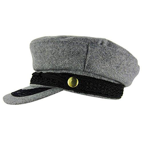 HowYouth Wool Greek Fisherman Cap Mariner Breton Fiddler Sailor Hat (Lace Grey) (Lace Wool Hat)