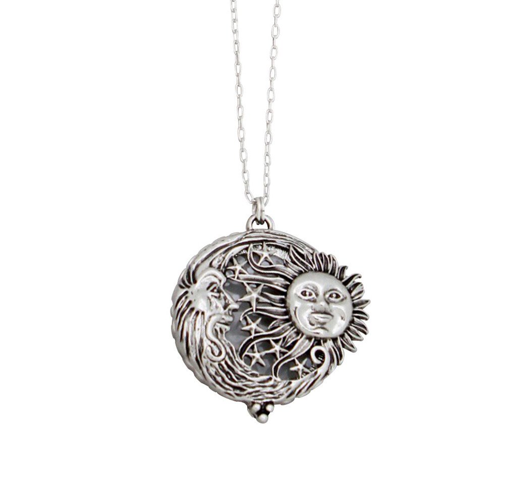 "Redwood Nouveau Look Silvertone Sun, Moon & Stars Filigree Open Work Magnifying Glass Pendant Necklace 30"" Long"