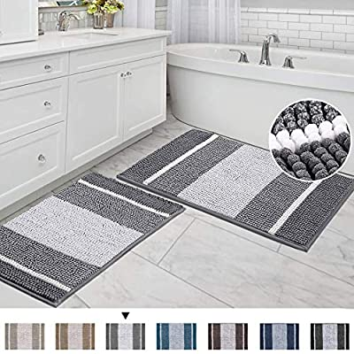"Striped Bath Rug Super Soft Microfiber Non Slip Mat Anti-Slip Bath Mats Plush Chenille Yarn Shaggy Mat Living Room Bedroom Mat Floor Water Absorbent, 20"" x 32"" Plus 17"" x 24"", Gray - SUPER SOFT: Crafted from thick and velvety microfiber chenille, give your feet the gift of exceptionally comfort and massage feeling, transform your bathroom into a home spa oasis EXTRA ABSORBENT: These upgraded luxurious shag rugs can soak up the water and keep your floor dry like a jaint sponge, keeping away from any mildew or moldy, spruce up your powder room for maximum serenity and warmth NON SKID: With updated version slip-resistant SBE/Hot melt spray backing, keeps the rugs mats long lasting and more durable, keep the new fresh look year after year, while still strongly hold mats firmly in place for safety - bathroom-linens, bathroom, bath-mats - 51lrW%2BUG6LL. SS400  -"