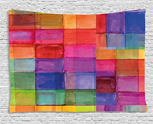 Ambesonne Abstract Tapestry, Rainbow Colored Geometric Square Shaped with Blurry Hazy Effects Watercolor Design, Wall Hanging for Bedroom Living Room Dorm, 80 W X 60 L Inches, Multicolor ()