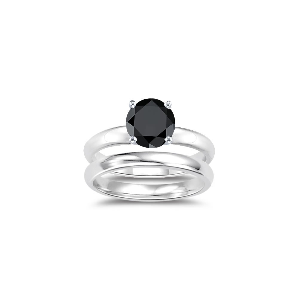 1.00 Ct Black Diamond Engagement and Plain Wedding (3mm comfort fit) Ring Set in Sterling Silver-10.0